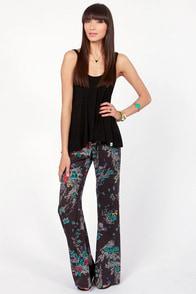 Billabong Flower Daze Black Floral Print Wide-Leg Pants