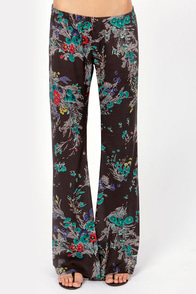 Billabong Flower Daze Black Floral Print Wide-Leg Pants at Lulus.com!