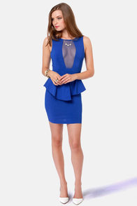 Look at This Mesh Royal Blue Dress at Lulus.com!