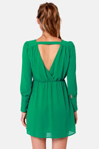 On the Wrap Jungle Green Long Sleeve Dress at Lulus.com!