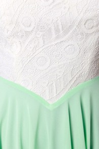 Always and Forever Ivory and Mint Lace Dress at Lulus.com!