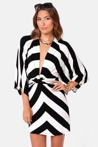 Kimono-a-Mano Black and Ivory Striped Dress at Lulus.com!