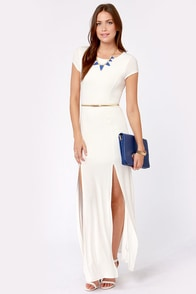 Dressed to a Tee Ivory Maxi Dress at Lulus.com!