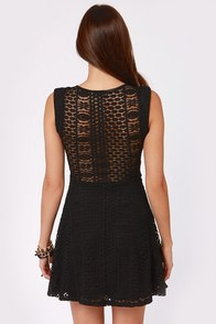 Peek Chic Cutout Black Lace Dress at Lulus.com!