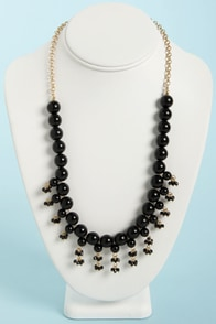 The Finishing Touch Black Bead Necklace at Lulus.com!