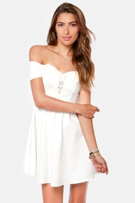 Moonlit Balcony Ivory Lace Dress