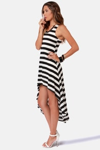The Stripe is Right Black and Ivory Striped Dress at Lulus.com!