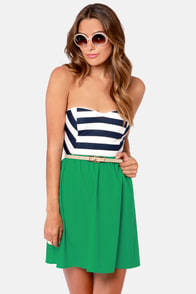 Sail Mix Strapless Green Striped Dress