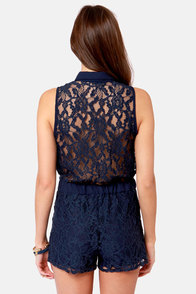 Best for Lace-t Navy Blue Lace Romper at Lulus.com!