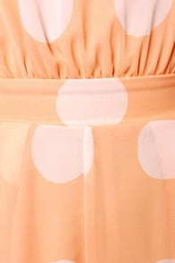 Soft Spot Peach Polka Dot Romper at Lulus.com!