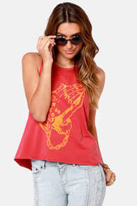 Obey Holy Hands Dusty Red Muscle Tee at Lulus.com!