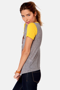 Obey '77 Brewski Nubby Grey and Yellow Print Tee at Lulus.com!