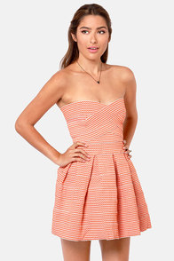 Bell Curves Ahead Strapless Orange Bandage Dress at Lulus.com!