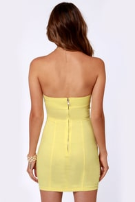 Walkin' On Sunshine Yellow Strapless Dress at Lulus.com!