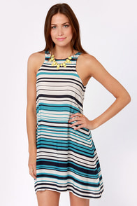 Cast Your Boat Blue and White Striped Dress