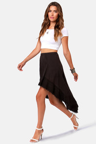 Billabong So Dreamy Washed Black High-Low Skirt at Lulus.com!