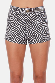 Billabong Memory Black and White Geo Print High-Waisted Shorts at Lulus.com!