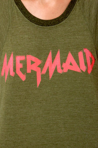 Billabong Headtrip Mermaid Print Green Muscle Tee at Lulus.com!