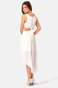 Back's Treat Bows Ivory High-Low Dress at Lulus.com!