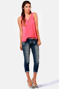 Saturday Cookout Coral Tank Top at Lulus.com!