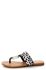 Soda Dacca Black and White Dalmatian Print Thong Sandals at Lulus.com!