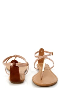 City Classified Elaine Nude Patent and Gold Thong Sandals at Lulus.com!