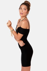 Strappily Ever After Off-the-Shoulder Black Dress at Lulus.com!