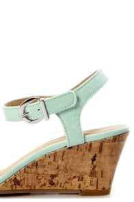 City Classified Crew Pale Blue Cotton Single Strap Wedge Sandals at Lulus.com!