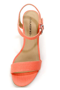 City Classified Crew Light Coral Single Strap Wedge Sandals at Lulus.com!