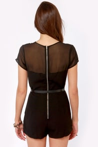 Mesh-tery Novel Belted Black Romper at Lulus.com!