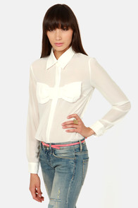 Bow and Behold Sheer White Long Sleeve Top at Lulus.com!