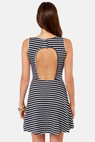 Candy Striper Navy Blue and White Striped Dress at Lulus.com!
