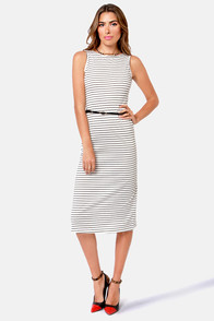 Silent Film Black and White Striped Dress at Lulus.com!