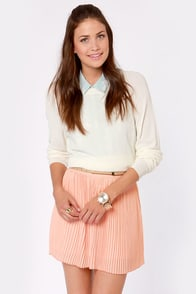 Clean Pleat Club Peach Mini Skirt at Lulus.com!