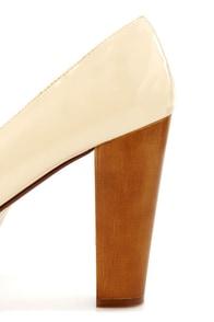 Gaga 1 Beige Patent Mega Platform Heels at Lulus.com!