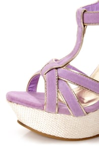 Valera 14 Lavender and Gold T-Strap Platform Wedge Sandals at Lulus.com!