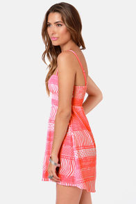 Roxy Buried Shell Neon Pink Bustier Dress at Lulus.com!