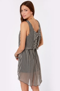 Merci Bow-Coup Black and White Striped Dress at Lulus.com!