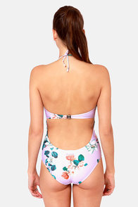 Insight Magnolia Lavender Print One Piece Swimsuit at Lulus.com!