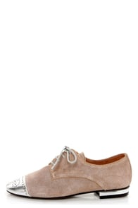 Sixtyseven Khloe Silver Waxed Suede Lace-Up Cap-Toe Oxfords