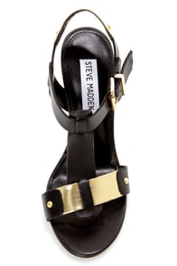 Steve Madden Reya Black and Gold T-Strap Dress Sandals at Lulus.com!