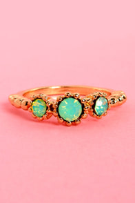 Castle Keep Gold and Mint Rhinestone Ring at Lulus.com!