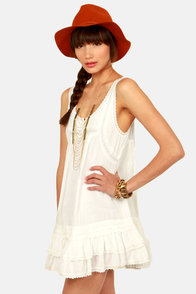 Billabong Short Story White Lace Dress at Lulus.com!