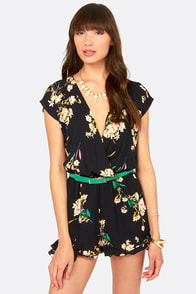 Beg Your Garden Navy Floral Print Romper at Lulus.com!