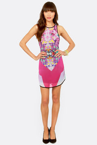 Psychedelic Scene Fuchsia Print Dress at Lulus.com!