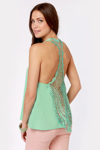 Back to Backless Mint Lace Tank Top at Lulus.com!