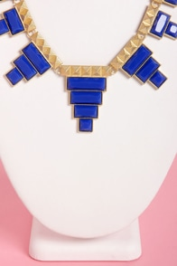 Tete-a-tetris Blue Statement Necklace at Lulus.com!