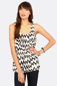 Radio Waves Navy Blue and White Print Top at Lulus.com!