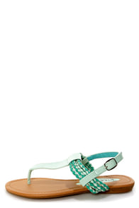 Aliza 17 Mint Green Patent Braided Thong Sandals at Lulus.com!
