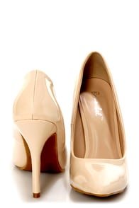 Elly 1 Blush Beige Patent Pointed Pumps at Lulus.com!